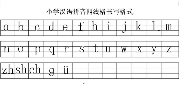 拼音在四线格怎么写